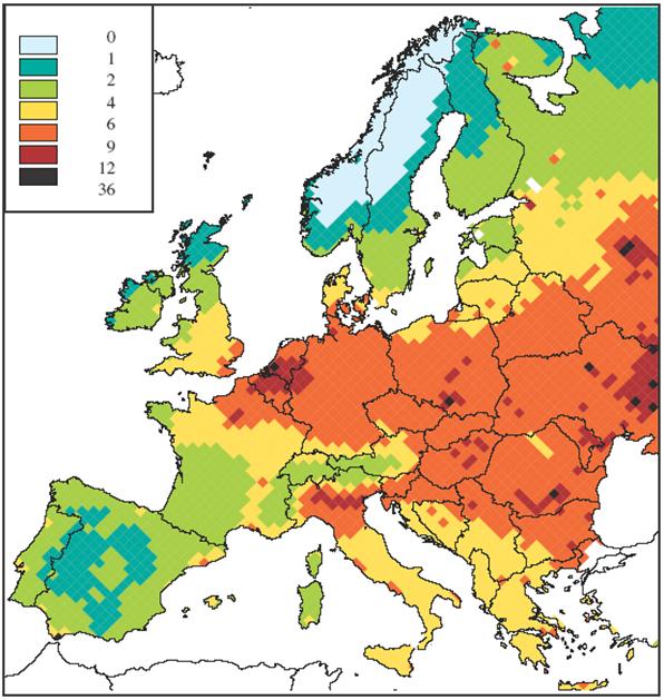 verlies aan levensverwachting door PM2.5 uitgedrukt in maanden (prognose voor 2010). Deze inschatting is gebaseerd op modelresultaten, niet op metingen!