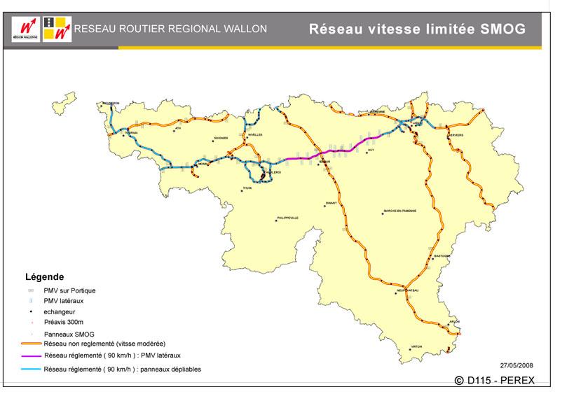 Wegsegmenten in Wallonië waar snelheidsbeperking van kracht is